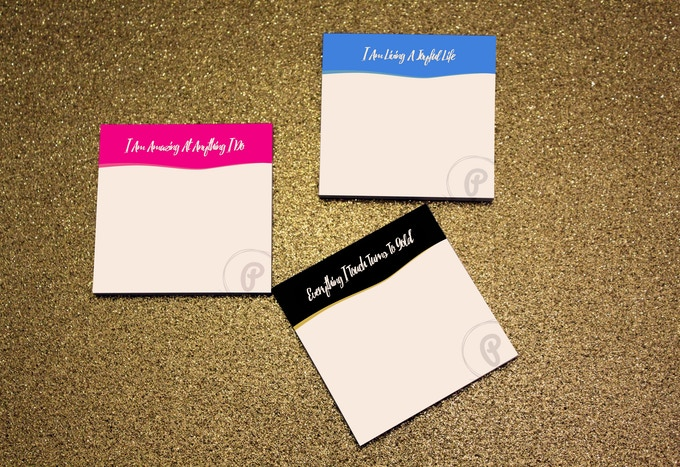 PleaseNotes!  You get a 3 pack of affirmation filled sticky notes for you to use in your journal, or where ever else you'd like to use them.
