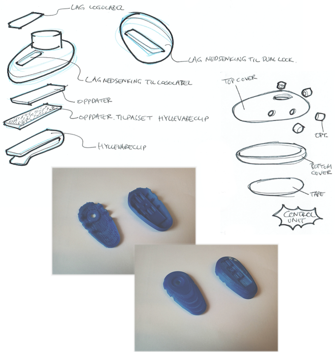 Sketching and 3D prints from the design process of the AERO and MOON