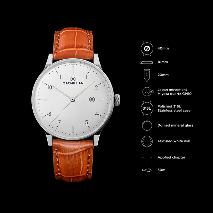 Stainless steel case + textured white dial