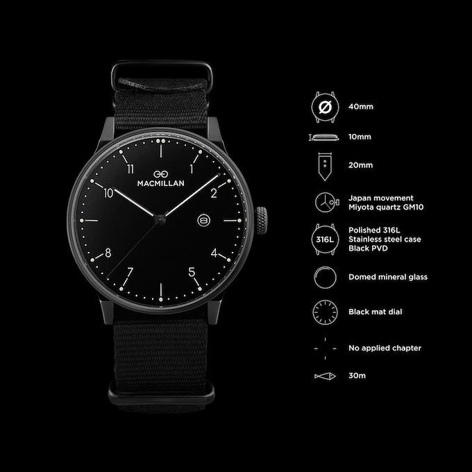 Black case + matt black dial