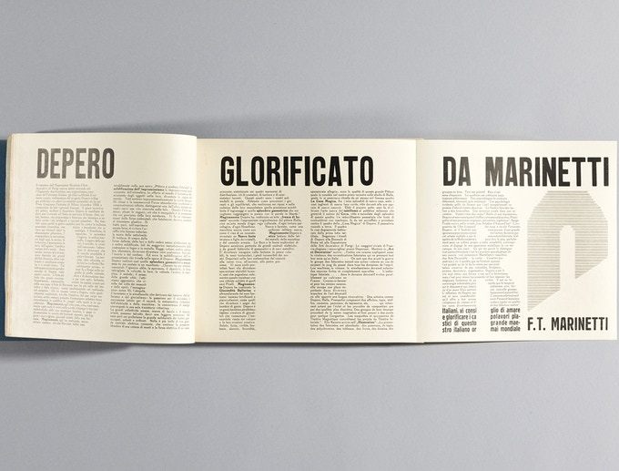 """Gatefold spread from """"Depero Futurista."""" © 2016 Artists Rights Society (ARS), NY / SIAE Rome. Photo: Jason Burch"""
