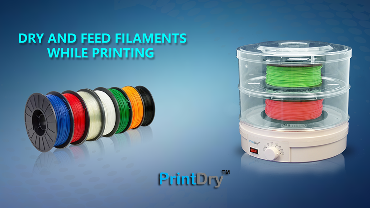 Dry and feed the filament for your 3D printing.  The effective solution for moisture-related 3D printing problems.