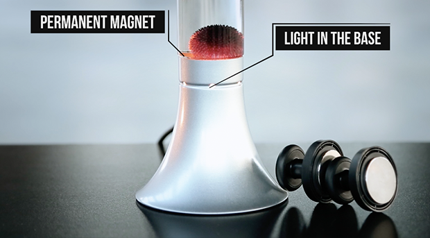A permanent magnet at the bottom keeps the ferrofluid spiking at all times.