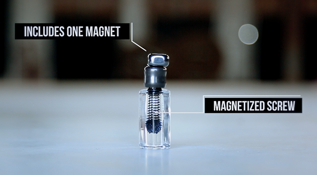 The ferrofluid is magnetized to a permanently magnetized screw.