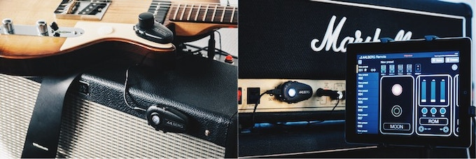 Left: AERO controller is attached to the guitar while the MOON is attached to a Fender Hot Rod Deluxe III amp. Right: MOON attached to a Marshall JCM 900 amp with the REMOTE app providing remote control.