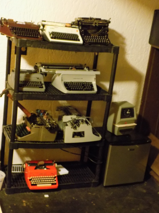 Take our typewriters .... please. The time clock and refrigerator are staying.