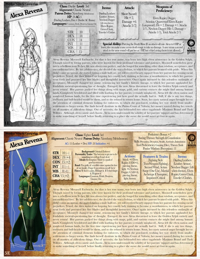 Sample Iconic 1E & 5E Character Card