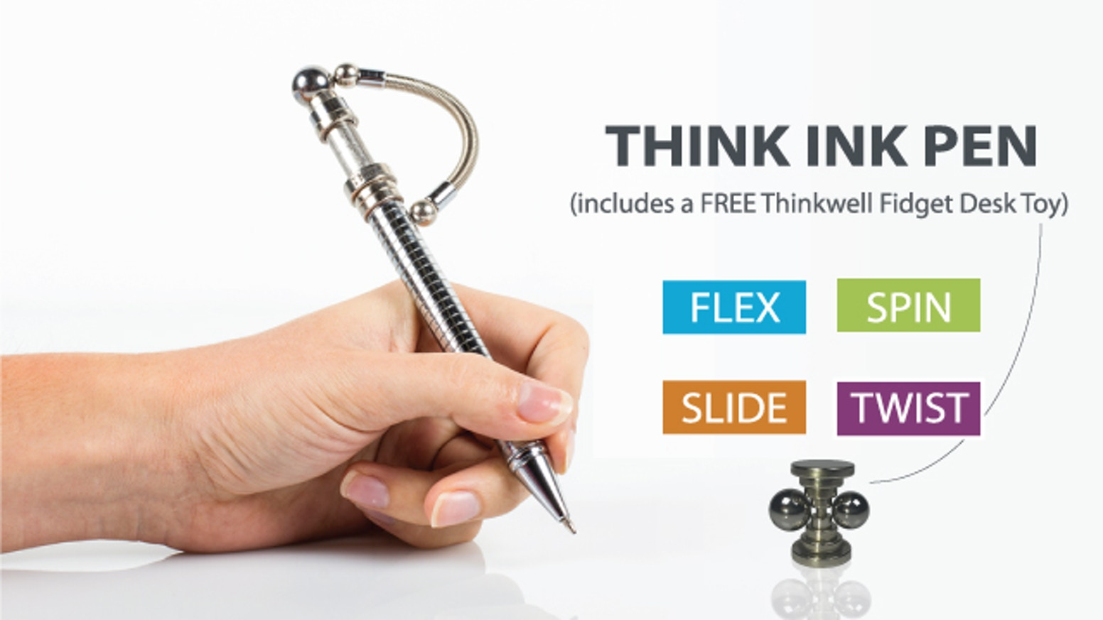 Not just a toy, Think Ink is a ball point pen and a discreet fidgeting tool designed to help individuals of any age stay focused