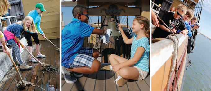 Schoolchildren learn how the Mayflower sailed across the Atlantic and what daily life was like on board.