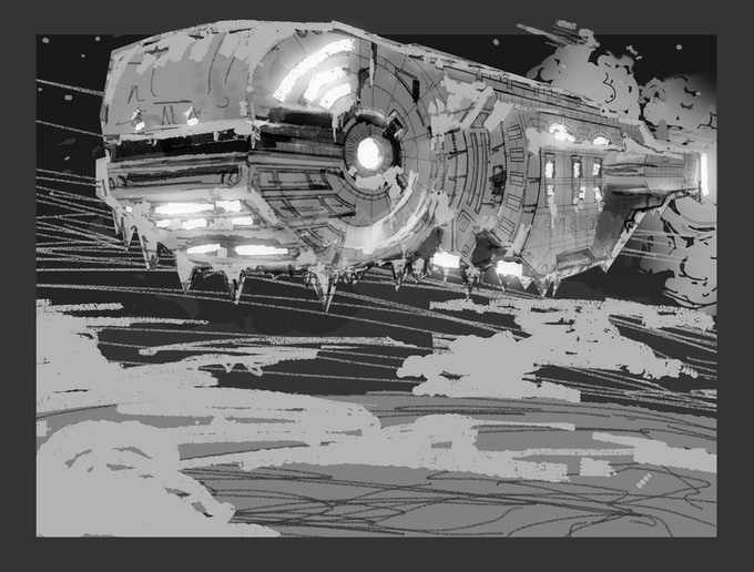 CONCEPT ART: Spacecraft Design by Nick Machado; Repurposing and Additional Design by Aaron Parks