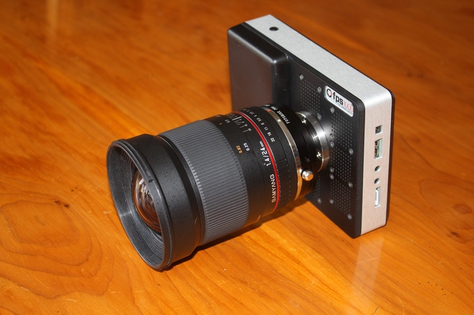 Using low cost lens mount adapters you can use almost any lens with the fps1000HD. Here is a Canon mount f1.4 / 24mm Samyang.