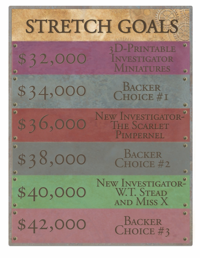 Backer Choice Unlocks- More Masterminds, More Henchmen, More Agents, and Investigator Standees!