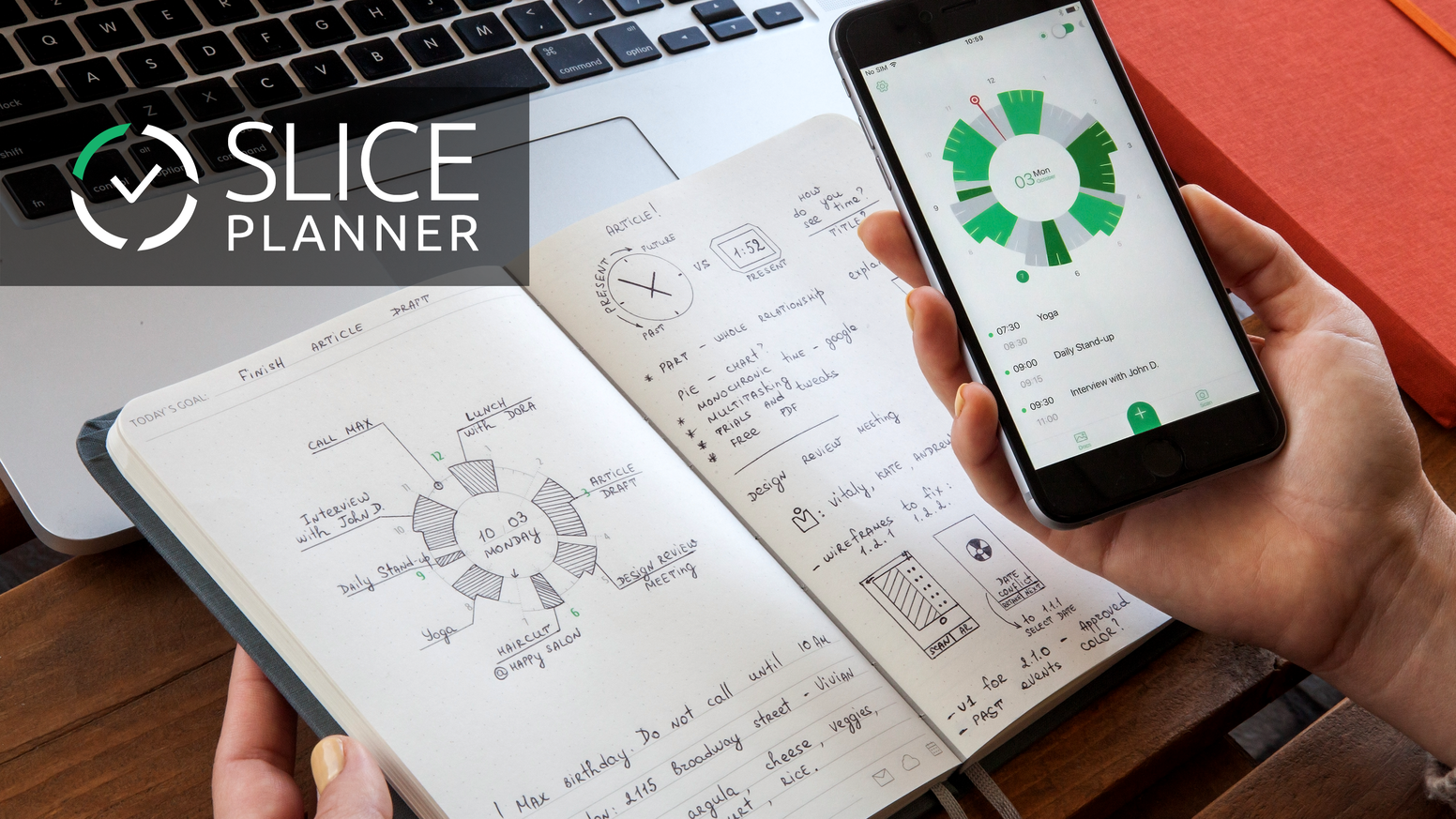 slice planner first notebook connected to digital calendars by