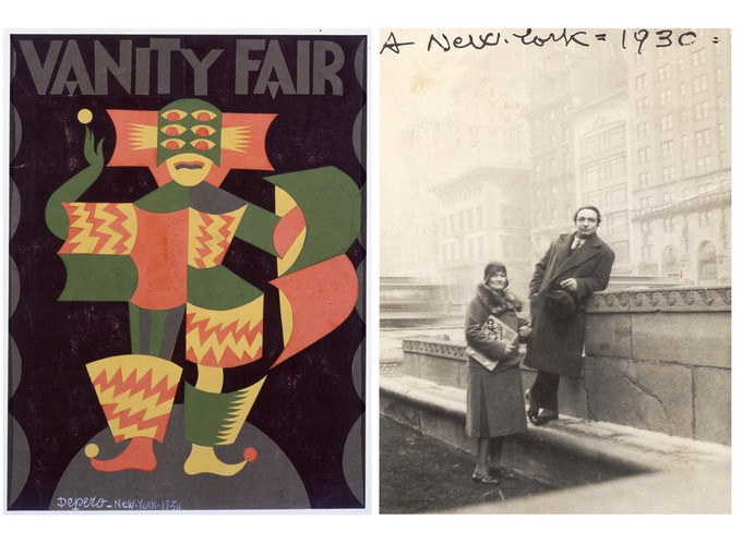 "Cover of ""Vanity Fair"" by Fortunato Depero, 1930 (left); and Depero and his wife, Rosetta (holding a copy of The Bolted Book), on the rooftop of the Advertising Club in New York, 1930. Photos: Mart, Archivio del '900, Fondo Fortunato Depero"