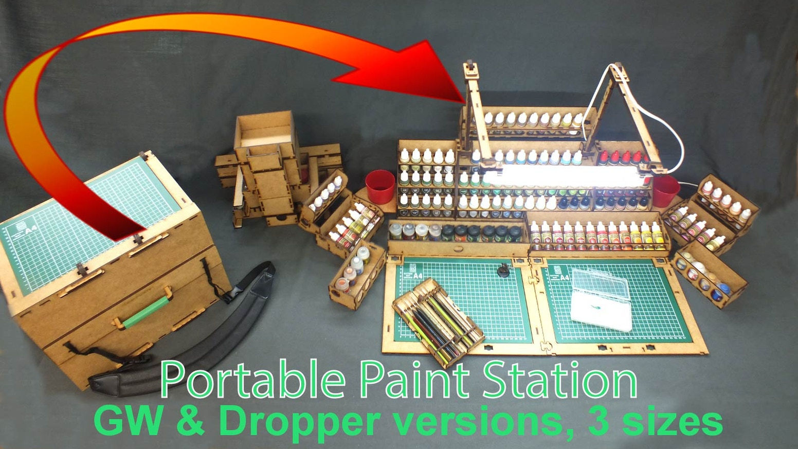 Pre-order the case for up to 162 paints, miniatures, tools, which transforms into a full painting station, complete with lamp & work area.