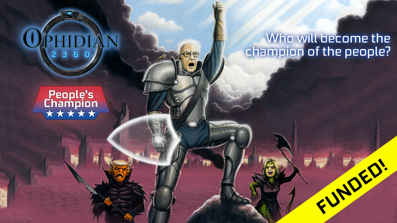 Mini-expansion for the successful Ophidian 2360 Futuristic Gladiator Combat Game!  Original mechanics, great art, nods to 2016 election