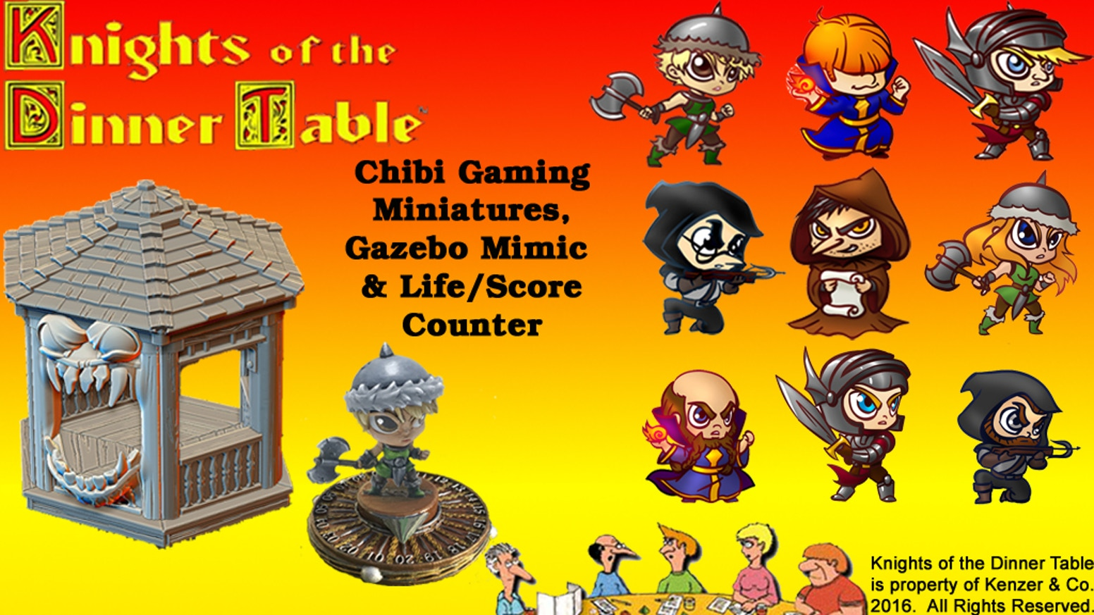 Sara, Brian, B.A., Bob and Dave, the full Knight of the Dinner Table crew, join your role playing games as fantasy chibi miniatures.