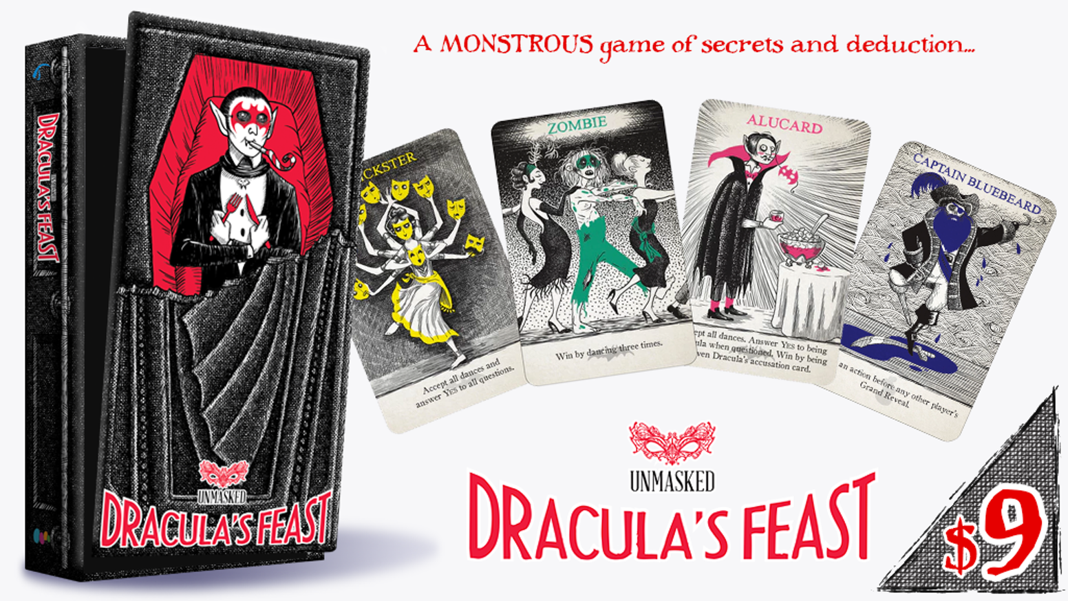 A 10-minute social deduction game for 4-8 monsters. Featuring gorgeous, thematic art, no lying, and no player elimination!