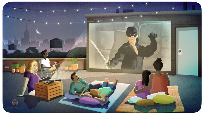 ODIN's simple easy setup allows movie nights on the roof, patio or anywhere