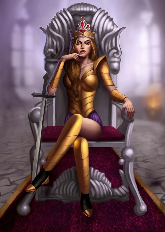 Concept Art, Empress Illissa on Her Throne.
