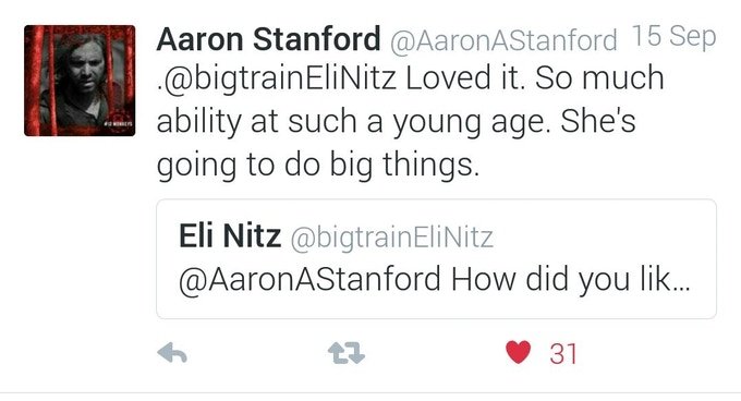 Tweet from Aaron Stanford of X Men and 12 Monkeys fame on Chasing Hitler