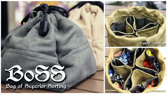 Primarily designed as a dice bag, this product features 13 separate compartments to organize small items.