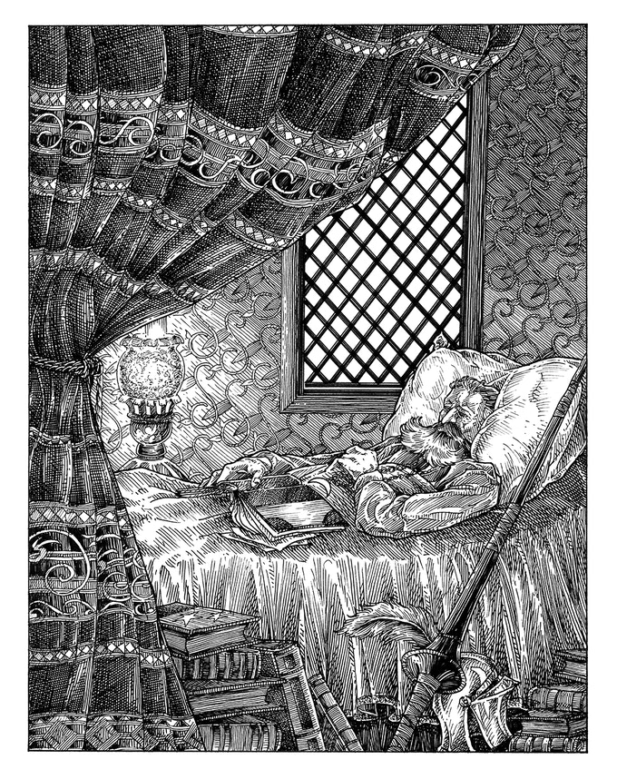 A sample illustration from the book: Don Quixote, sleeping in the Keep of Time