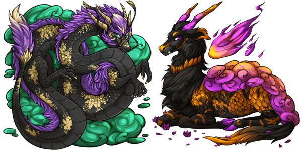 """Spider Lily"" Eastern Dragon & ""Punkin Patch"" Kirin"