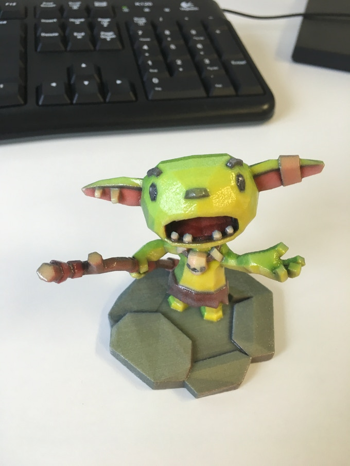 a first batch print of the goblin figurine