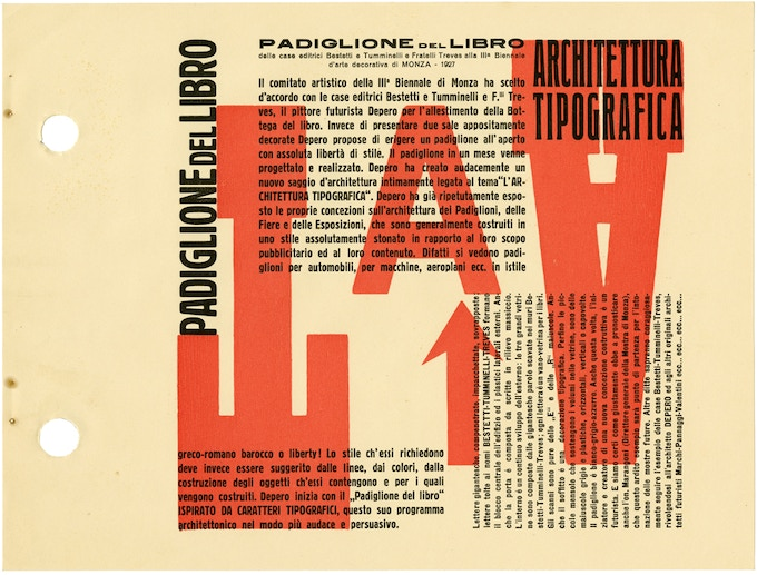 """Typographical Architecture"" manifesto, which presents Depero's ideas on fusing architecture and advertising, realized in his Book Pavilion (Padiglione del Libro) for a 1927 exposition. © 2016 Artists Rights Society (ARS), NY / SIAE Rome"