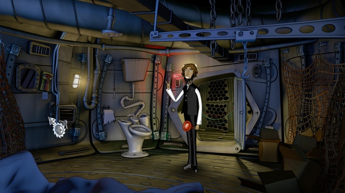 Here's Jacob, arrested in his cell, deep inside the bowels of an alien space ship. We guess, he's not yet really grasped, what's going on.