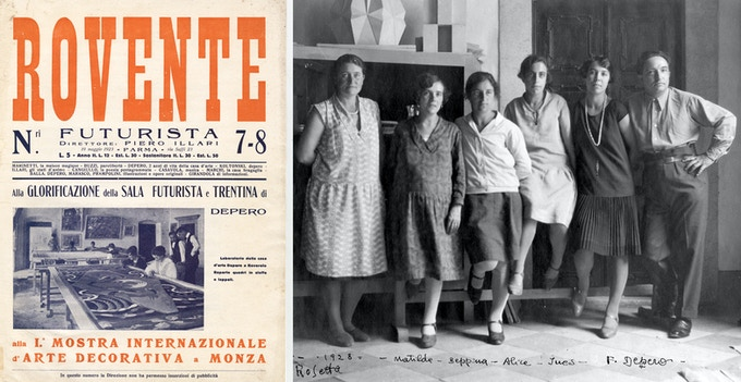 "Magazine ""Futurist Fortnightly,"" no, 23, showing Futurist House of Art textile projects (left), 1923; Casa D'Arte workers, directed by Depero's wife (far left), 1928 (right). Photos (not in The Bolted Book): Mart: Archivio del '800, Fondo Fortunato Depero"