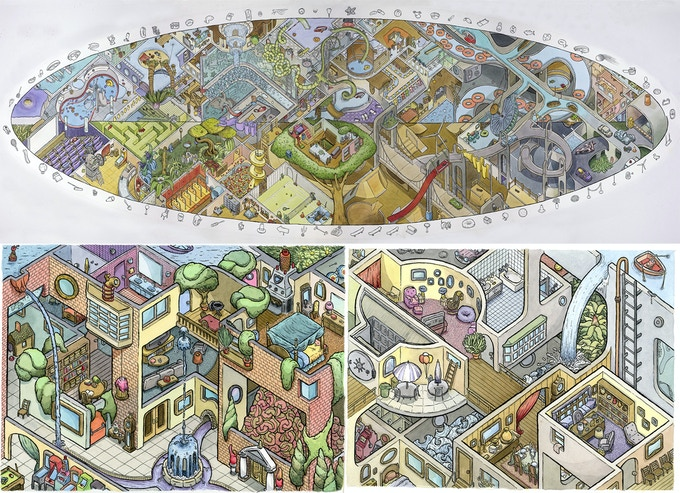 2. Architectural - isometric drawings of buildings and what's inside