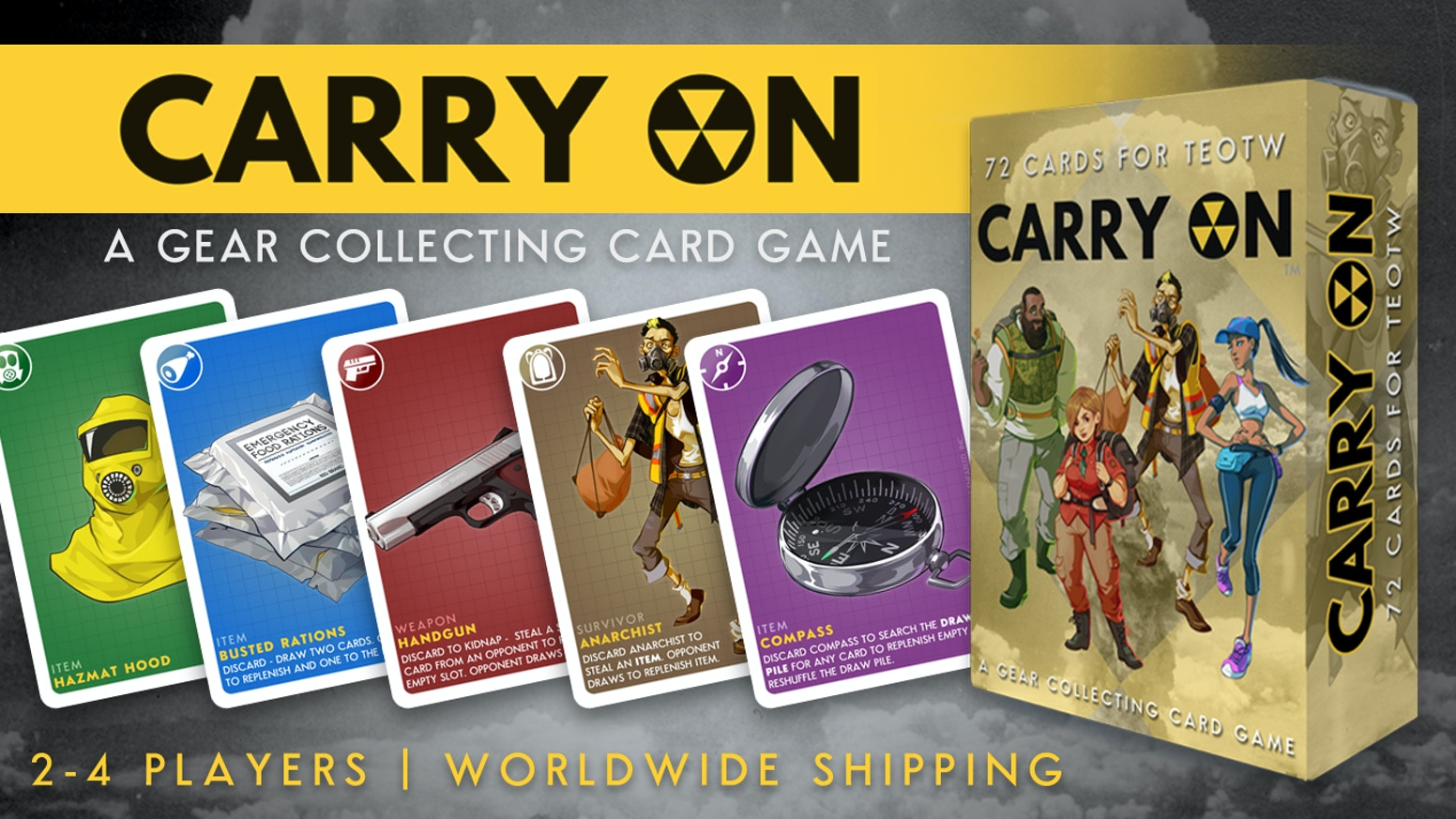 A gear collecting card game for the end of the world. Stash food and weapons, & with the aid of other survivors find a way to carry on.
