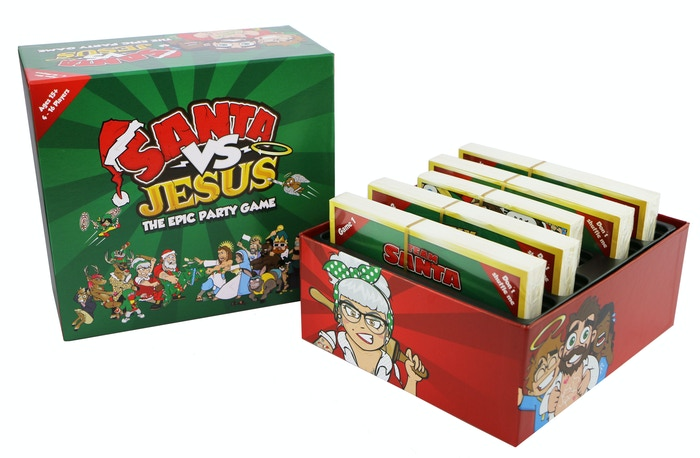 Whose side are you on, Team Santa or Team Jesus? In this epic card game, battle for the most believers and ultimately rule Christmas! Now on Amazon UK - Amazon US mid October!