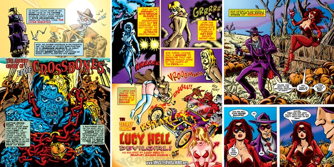 Three pages from the secret origins of EDDIE CROSSBONES, LUCY HELL, EL SECRETO and BLOODY MARIA!
