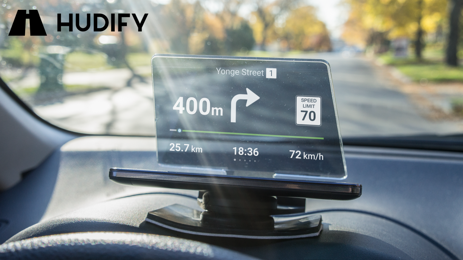 An automotive accessory that transforms the smartphone you already own into a portable head-up-display