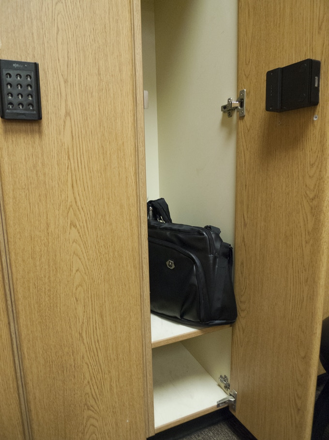 One bag fits easily into a standard gym locker