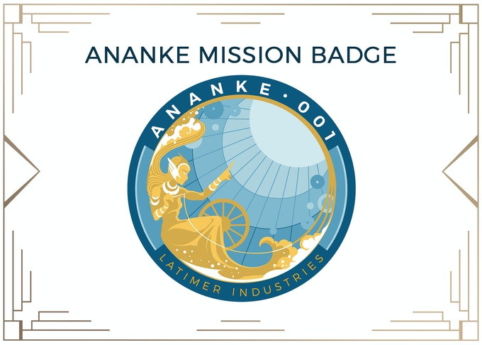 ANANKE Mission Badge Vector Design by Guest Artist, Noelle Raffaele. MINIMUM $180 DONATION for Mission Badge and other prize tiers below it! All badges will be 100% custom embroidered.
