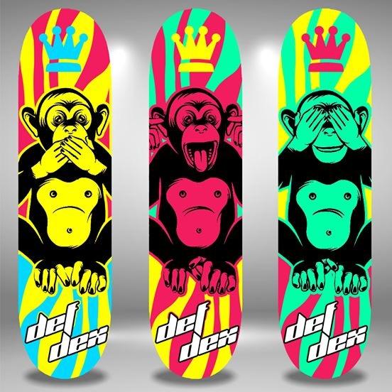 DEFDEX hand-painted skateboard decks 3 SET