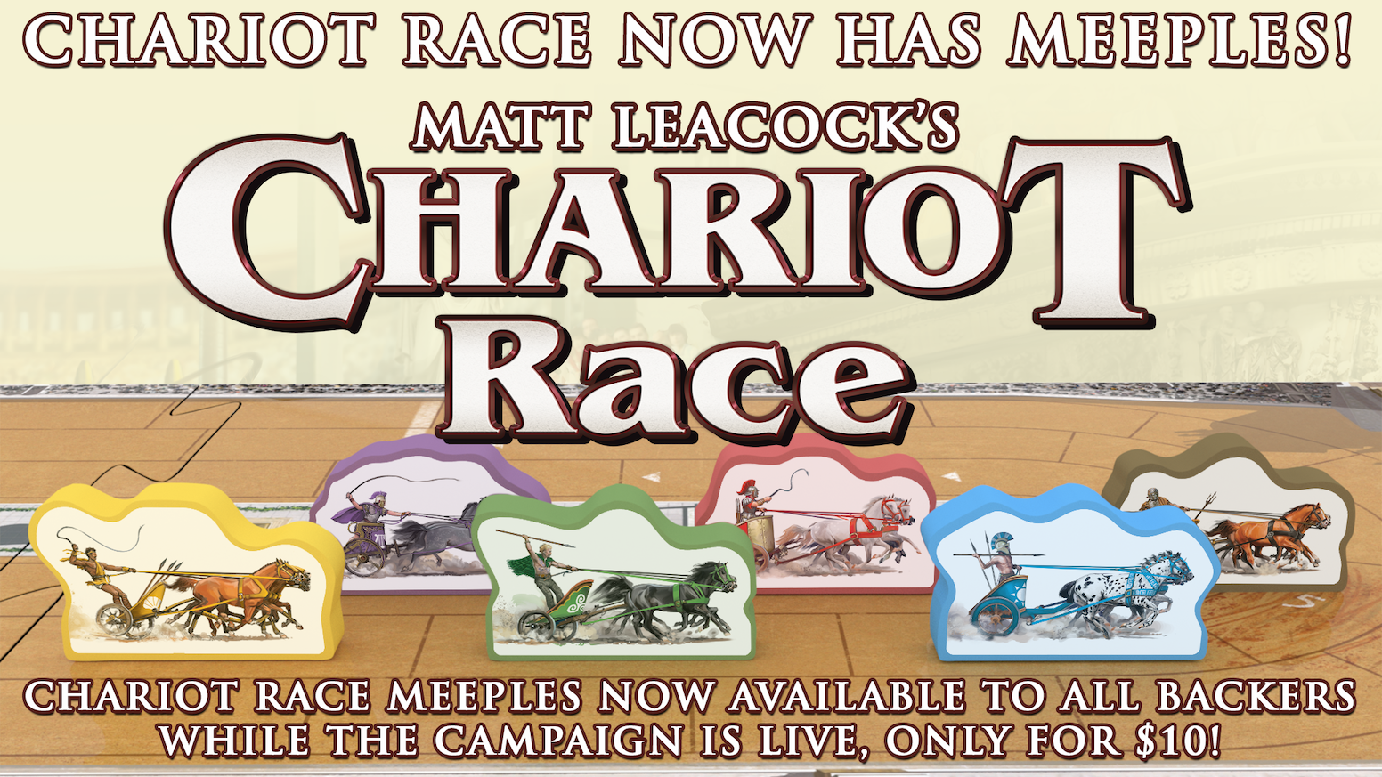 Fast paced, easy to learn, with great replay-ability. A light-strategy game that seats 2-6 charioteers. Welcome to the Circus Maximus!