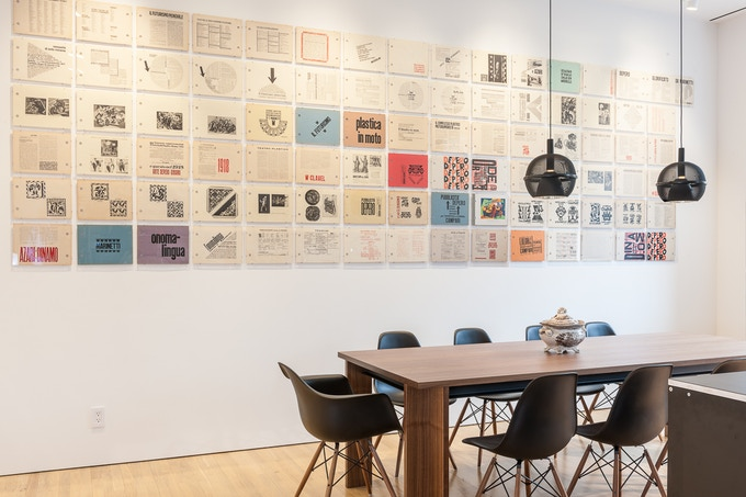 The Bolted Book unbolted and displayed on the wall during the Fortunato Depero exhibition at the Center for Italian Modern Art, 2014. Photo: Walter Smalling, Jr.