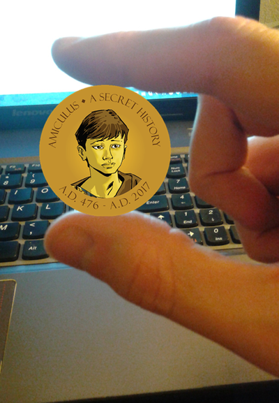 Mock-up of coin for scale