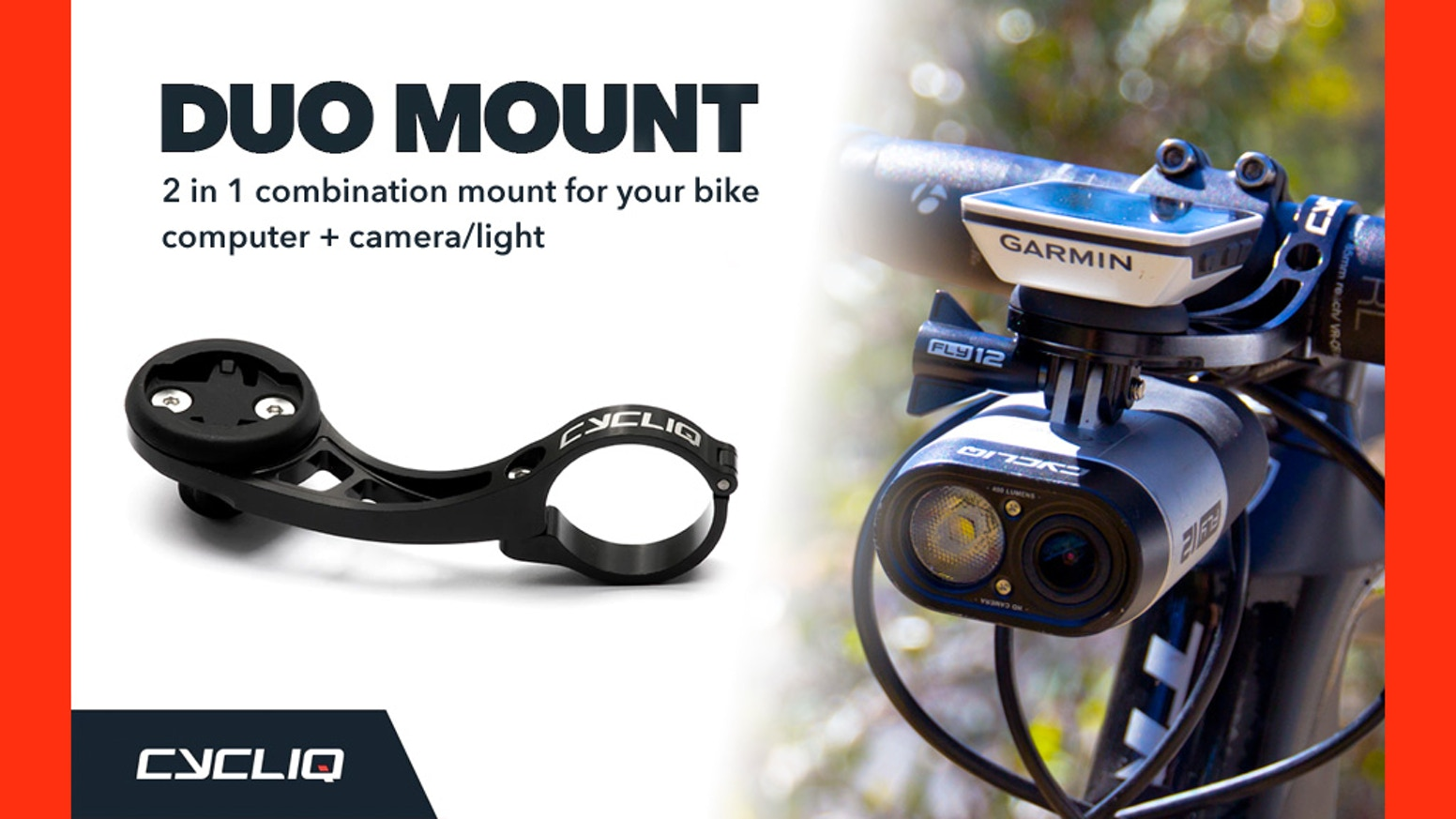 Super strong, durable bicycle mount. Compatible with 90% of bike computers & (incl. Fly12). Declutter your handlebars!