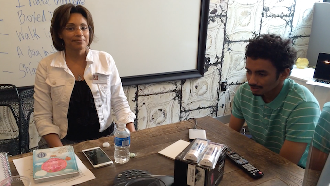 "Milinda Balthrop (FFTF President & Founder) with Antonio Rodriguez (Aspiring Editor) at ""I Am Me"" Production Meeting"
