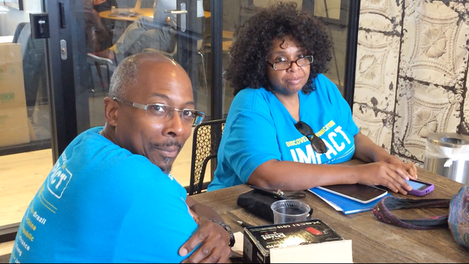 """Eric Wells & Sherri Fletcher Wells (Consultants to the Film and Proud Parents of Jamal) at """"I Am Me"""" Production Meeting"""
