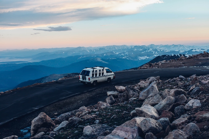 Our van, which we call Right Lane Rhino, taking it slow but easy up Mt. Evans.