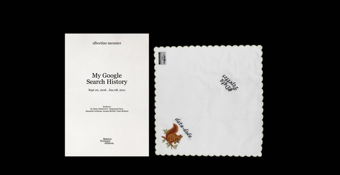My Google Search History, volume 2 & one embroidered handkerchief - contribution 33 € or more