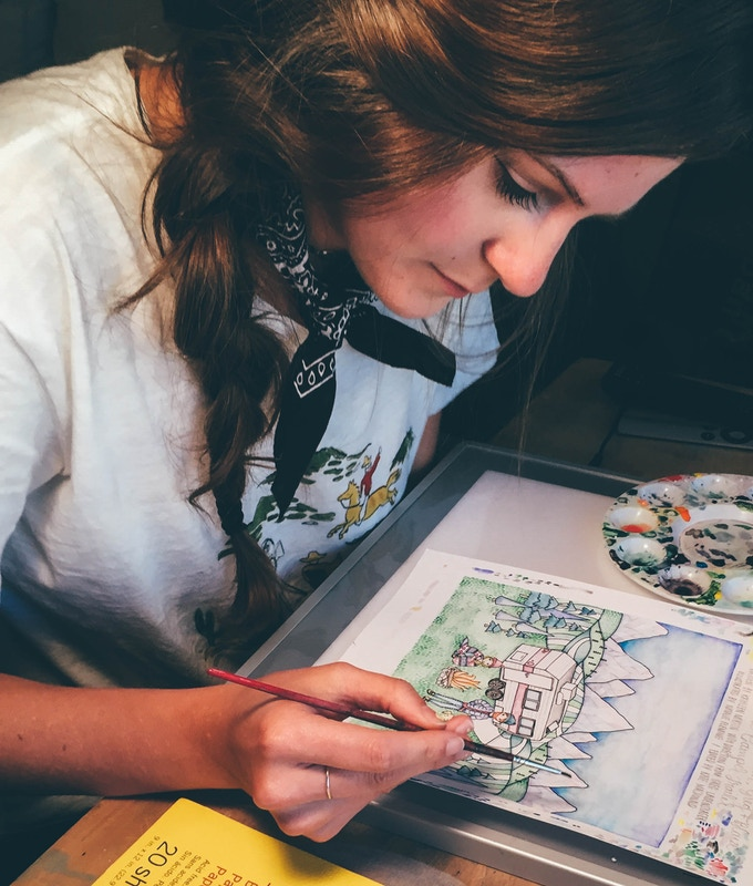 Natalie Fleming, our illustrator, working on the cover of our book.