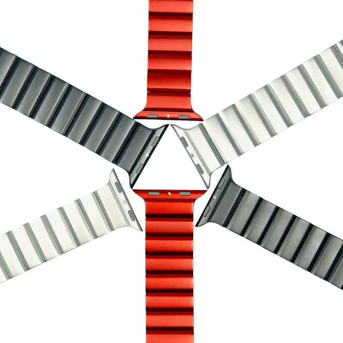 42mm and 38mm aluminum Apple Watch bands in grey, silver and red